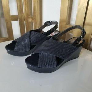 Joan & David Blue Wedge Platform Sandal Shoe 5.5